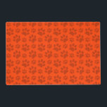 """Neon orange dog paw print placemat<br><div class=""""desc"""">Dog gift ideas. Neon orange dog paw print pattern (animal print). Cute gifts for dog lovers.</div>"""
