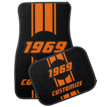 Neon Orange Double Race Stripes Car Mat