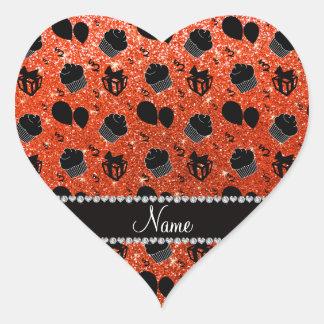 Neon orange glitter cupcakes balloons presents heart sticker