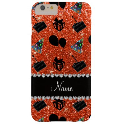 Neon orange glitter hats cake presents balloons barely there iPhone 6 plus case