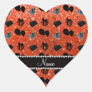 Neon orange glitter hats cake presents balloons heart sticker