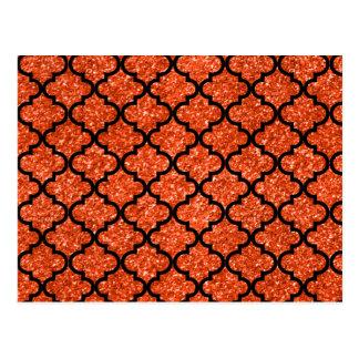 Neon orange glitter moroccan postcard