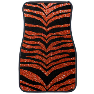 Neon orange glitter tiger stripes car floor mat