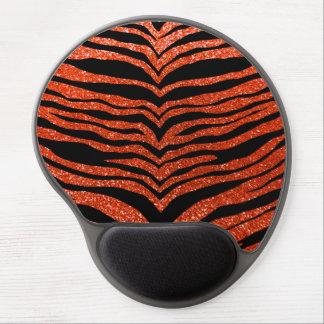 Neon orange glitter tiger stripes gel mouse mat