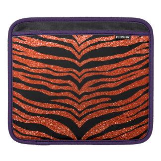 Neon orange glitter tiger stripes sleeves for iPads