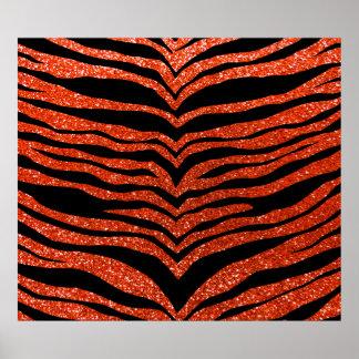 Neon orange glitter tiger stripes poster