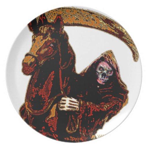 Neon Orange Grim Reaper Horseman Series by Valpyra Plate
