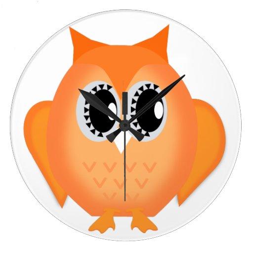 Neon Orange Hootie Hoot Owl Clock