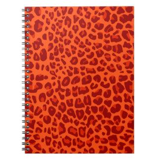 Neon orange leopard print pattern spiral notebook