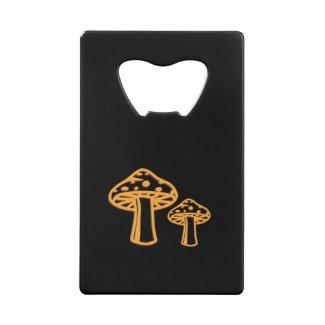 Neon Orange Mushrooms Wallet Bottle Opener
