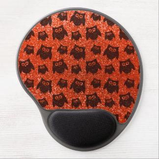 Neon orange owl glitter pattern gel mouse mats
