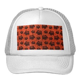 Neon orange owl glitter pattern mesh hats