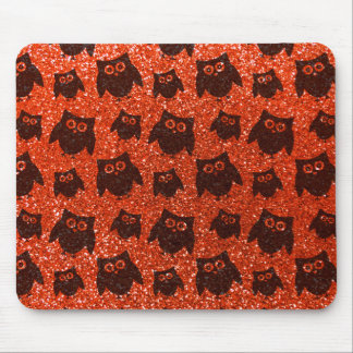 Neon orange owl glitter pattern mouse pads