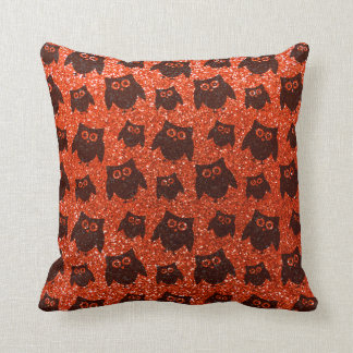 Neon orange owl glitter pattern throw pillow