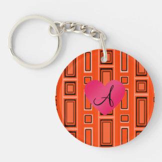 Neon orange retro squares monogram Single-Sided round acrylic keychain