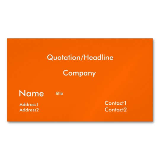 Neon orange solid color business card magnet zazzle neon orange solid color business card magnet reheart Image collections