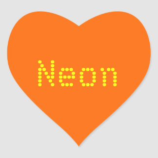 neon  orange solid color heart sticker