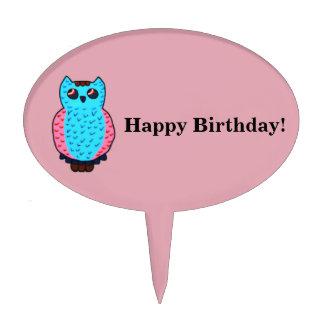 Neon Owl Happy Birthday Cake Topper