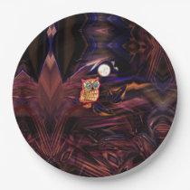 Neon Owl Thunderstorm Flash Fantasia Paper Plate