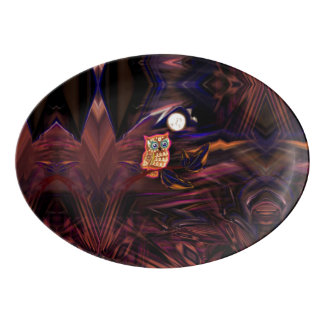 Neon Owl Thunderstorm Flash Fantasia Porcelain Serving Platter