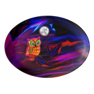 Neon Owl Thunderstorm Flash Platter