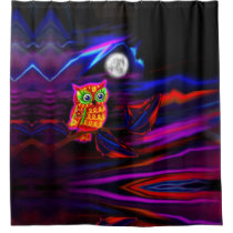 Neon Owl Thunderstorm Flash Shower Curtain