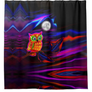 Neon Owl Thunderstorm Flash Shower Curtain