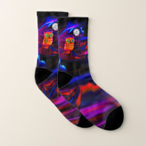 Neon Owl Thunderstorm Flash Socks