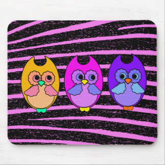 Neon Owl Trio - Mouse Pad