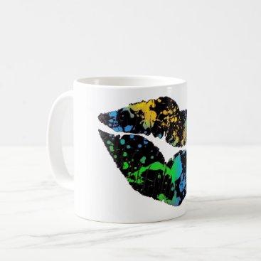 Coffee Themed Neon Paint Lips Coffee Mug