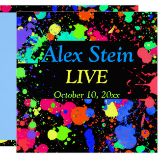 Neon Paint Splatter, Bar / Bat Mitzvah Invitation