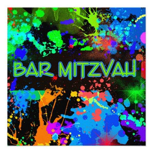 Neon Paint Splatter, Bar Mitzvah Custom Invitation