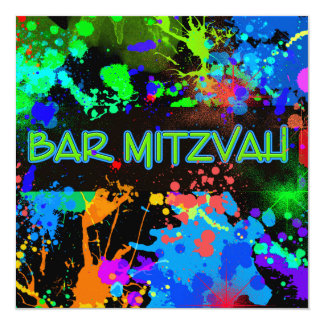 Neon Paint Splatter, Bar Mitzvah Custom Invitation