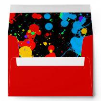 Neon Paint Splatter Custom Envelopes