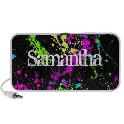 Neon Paint Splatter Personalized Speaker