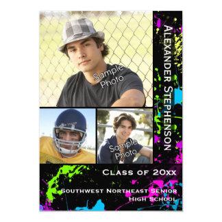 Neon Paint Splatter Photo Graduation Card