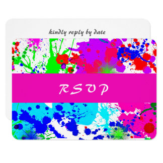 Neon Paint Splatter, Response Card