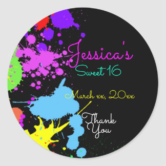 Neon, Paint Splatter, Sweet Sixteen, Bat Mitzvah, Classic Round Sticker