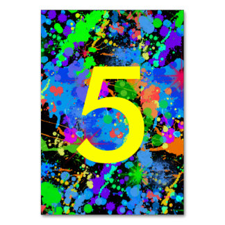 Neon Paint Splatter, Table Number Cards