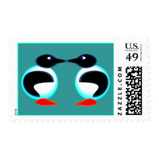 NEON PAIR OF PENGUINS Stamps Match Invitations