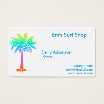 Beach Themed neon palm tree tropical summer bright colorful fun business card