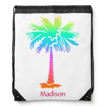 Beach Themed neon palm tree tropical summer bright colorful fun drawstring bag