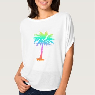 Beach Themed neon palm tree tropical summer bright colorful fun T-Shirt