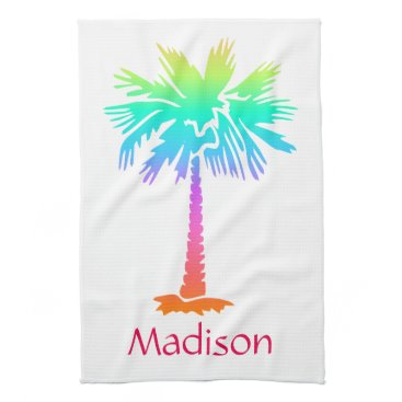 Beach Themed neon palm tree tropical summer bright customizable kitchen towel