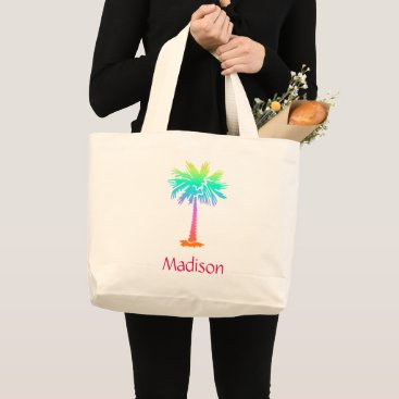 Beach Themed neon palm tree tropical summer bright customizable large tote bag