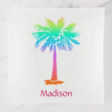 Beach Themed neon palm tree tropical summer bright customizable trinket trays
