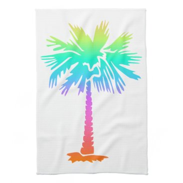 Beach Themed neon palm tree tropical summer colorful hand towel