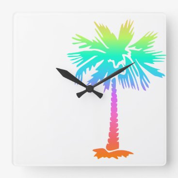 Beach Themed neon palm tree tropical summer colorful square wall clock