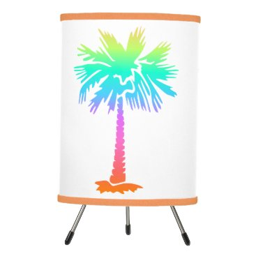 Beach Themed neon palm tree tropical summer colorful tripod lamp