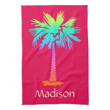 Beach Themed neon palm tree tropical summer pink customizable hand towel